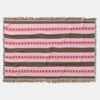 Girly Pink & Brown Stripes and Polka Dots Pattern Throw Blanket
