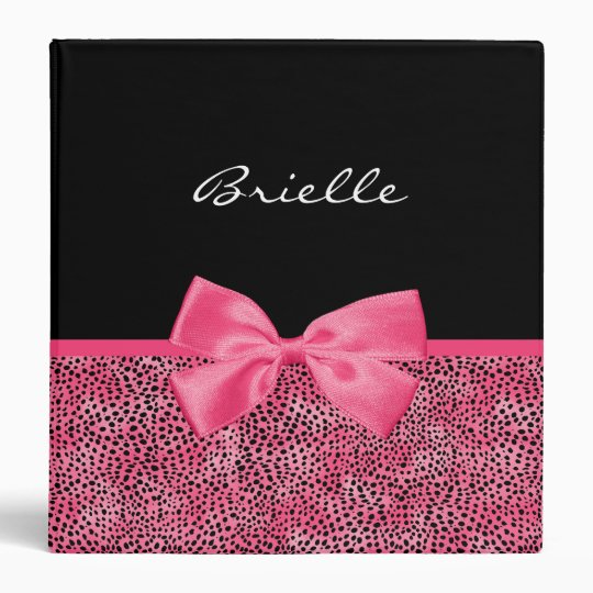 Girly Pink Cheetah Print With Cute Bow and Name 3 Ring Binders