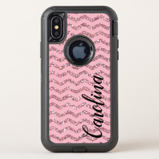 Girly Pink Chevron Glitter, Personalized with Name Case