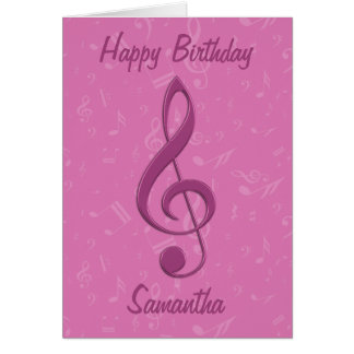 Girly Pink Clef and Musical Notes Birthday Greeting Card