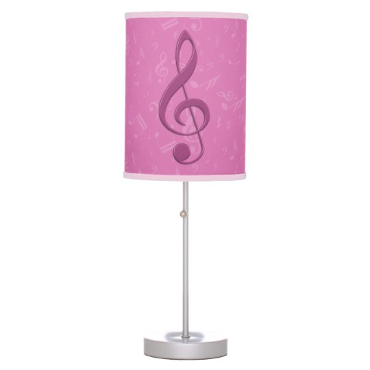 Girly Pink Clef and Musical Notes Table Lamp