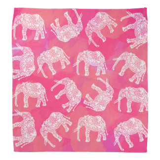 girly pink colorful tribal floral elephant pattern bandana