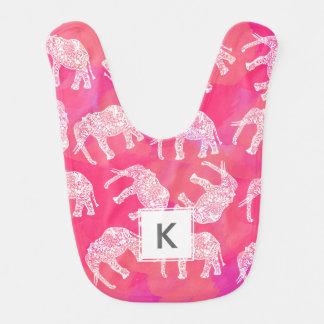 girly pink colorful tribal floral elephant pattern bib