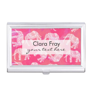 girly pink colorful tribal floral elephant pattern business card holder