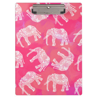 girly pink colorful tribal floral elephant pattern clipboard