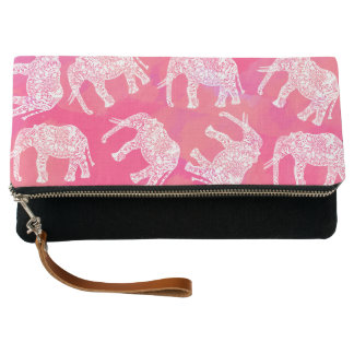 girly pink colorful tribal floral elephant pattern clutch