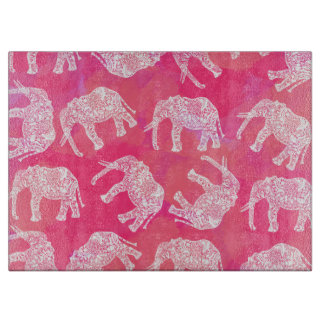 girly pink colorful tribal floral elephant pattern cutting board