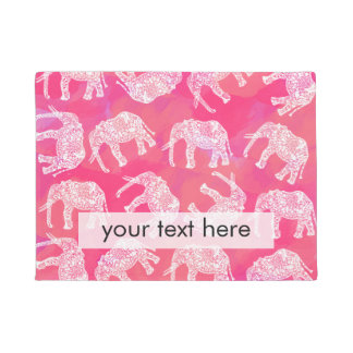 girly pink colorful tribal floral elephant pattern doormat