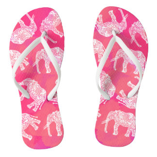 girly pink colorful tribal floral elephant pattern flip flops