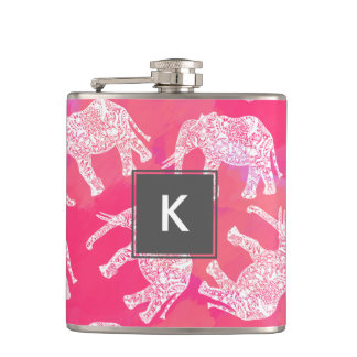 girly pink colorful tribal floral elephant pattern hip flask