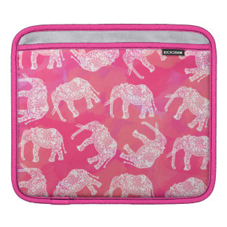 girly pink colorful tribal floral elephant pattern iPad sleeve