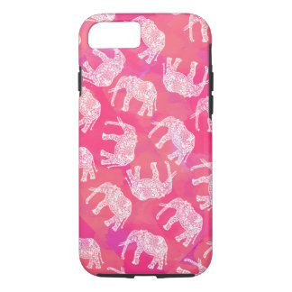 girly pink colorful tribal floral elephant pattern iPhone 8/7 case