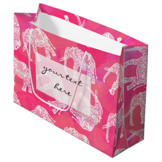 girly pink colorful tribal floral elephant pattern large gift bag