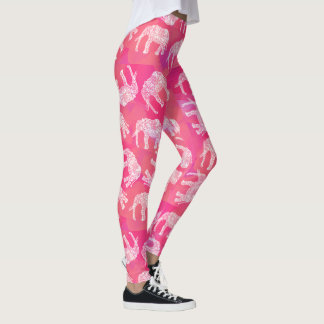 girly pink colorful tribal floral elephant pattern leggings
