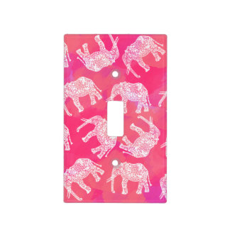 girly pink colorful tribal floral elephant pattern light switch cover
