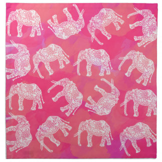 girly pink colorful tribal floral elephant pattern napkin