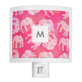 girly pink colorful tribal floral elephant pattern night lights