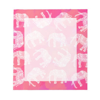 girly pink colorful tribal floral elephant pattern notepad