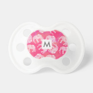 girly pink colorful tribal floral elephant pattern pacifier