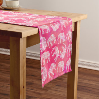 girly pink colorful tribal floral elephant pattern short table runner