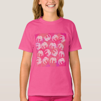 girly pink colorful tribal floral elephant pattern T-Shirt