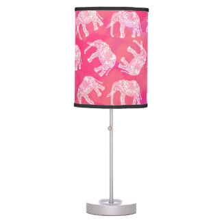 girly pink colorful tribal floral elephant pattern table lamp
