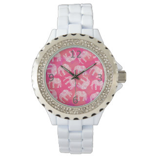 girly pink colorful tribal floral elephant pattern watch