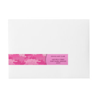 Girly pink colour style camouflage pattern wraparound address label