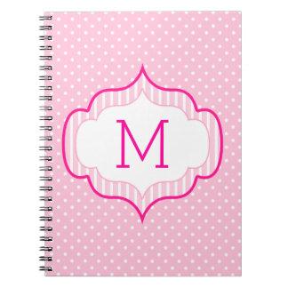Girly Pink Custom Monogram Polka Dot Pattern Notebook