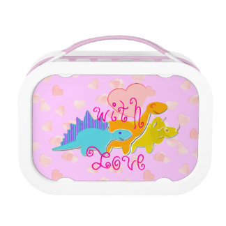 Girly Pink Cute Dinosaurs with Love Hearts Kid's Lunchbox