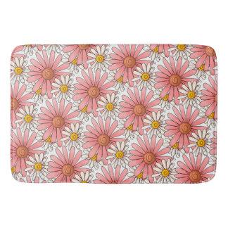 Girly Pink Daisies and White Daisies Bath Mat