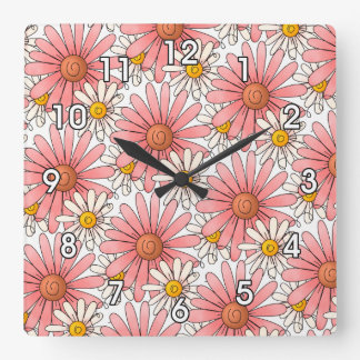 Girly Pink Daisies and White Daisies Clock
