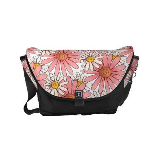 Girly Pink Daisies and White Daisies Messenger Bags