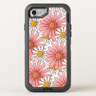 Girly Pink Daisies and White Daisies OtterBox Defender iPhone 8/7 Case