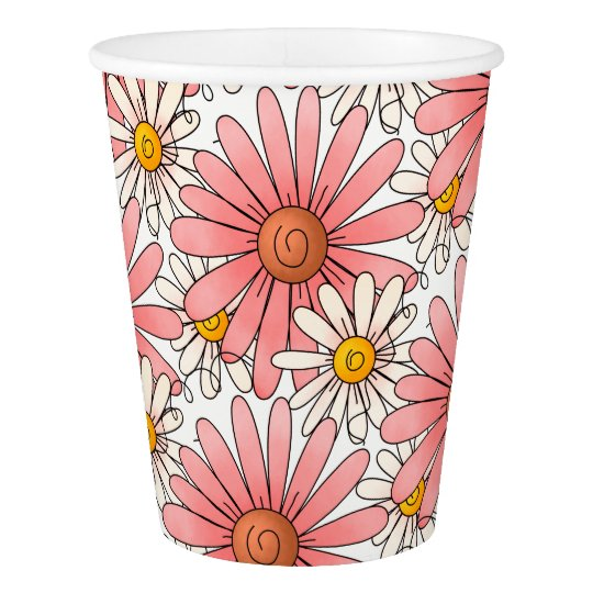 Girly Pink Daisies and White Daisies Paper Cup