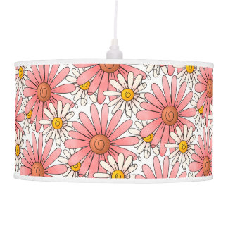 Girly Pink Daisies and White Daisies Pendant Lamp