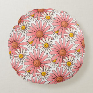 Girly Pink Daisies and White Daisies Round Pillow