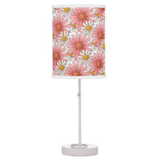 Girly Pink Daisies and White Daisies Table Lamp