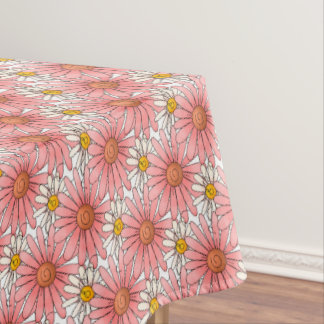 Girly Pink Daisies and White Daisies Tablecloth