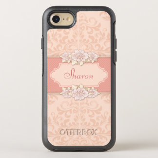 Girly Pink Damask Floral OtterBox Symmetry iPhone 7 Case