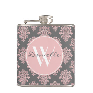 Girly Pink Damask Monogram Flask