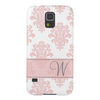 Girly Pink Damask Monogram Galaxy S5 Case