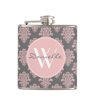 Girly Pink Damask Monogram Hip Flask