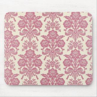 Girly Pink Damask Mouse Pad