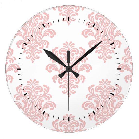 Girly Pink Damask Pattern Clocks
