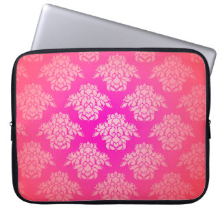 Girly Pink Damask Pattern Elegant Bohemian Laptop Sleeve