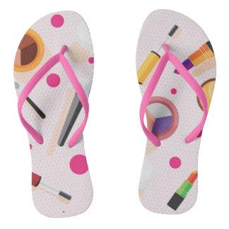Girly pink dots makeup set flip flops