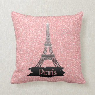 Girly Pink Eiffel Tower Glitter French Paris Throw Pillow
