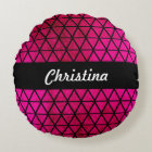 Girly Pink Faux Foil Triangles Pattern Monogram Round Pillow