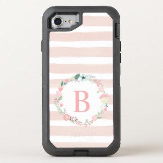 Girly Pink Floral Monogram OtterBox Defender iPhone 7 Case